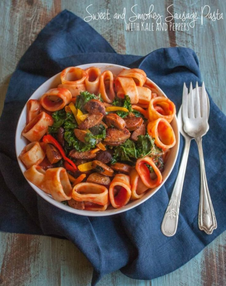 Sweet and Smokey Sausage Pasta with Kale and Peppers