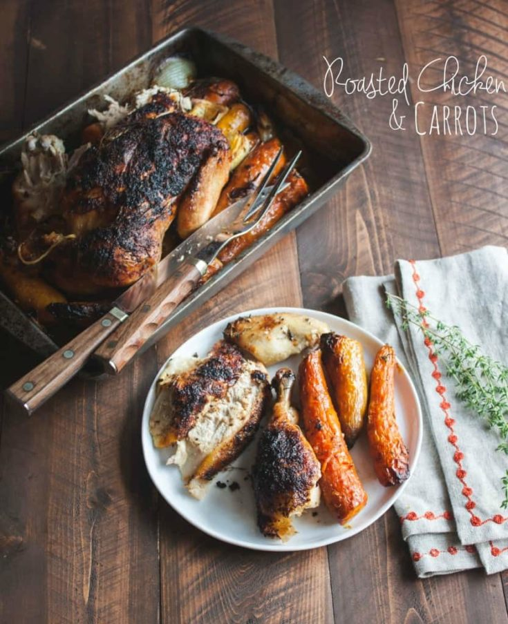 Roasted Whole Chicken and Carrots {with lemon garlic and thyme}