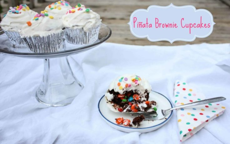 Piñata Brownie Cupcakes - Surprise Inside Cupcakes