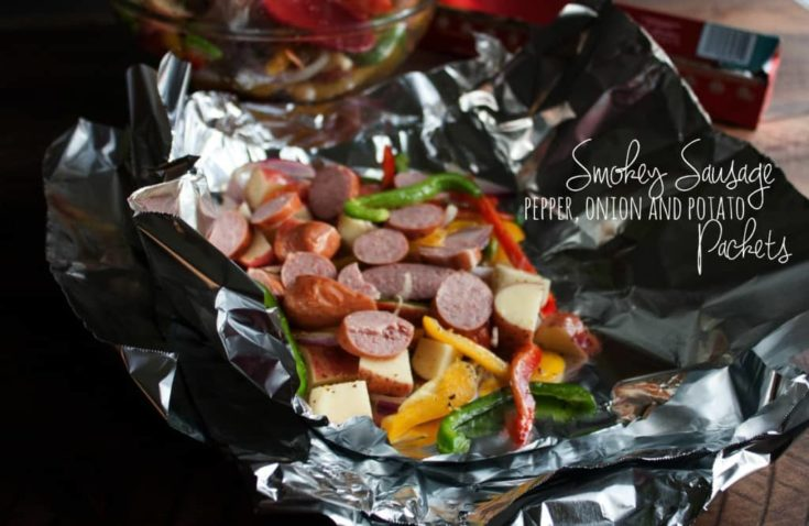 Sausage pepper onion and potato packets