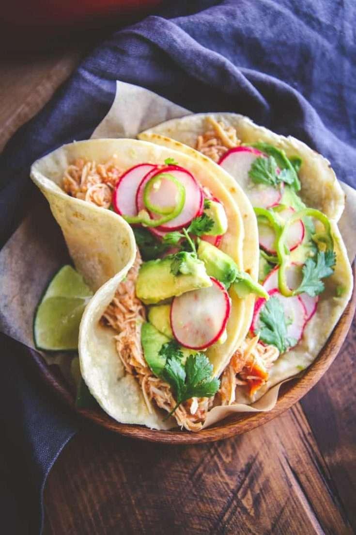 Slow Roasted Chicken Tacos with Radish Slaw