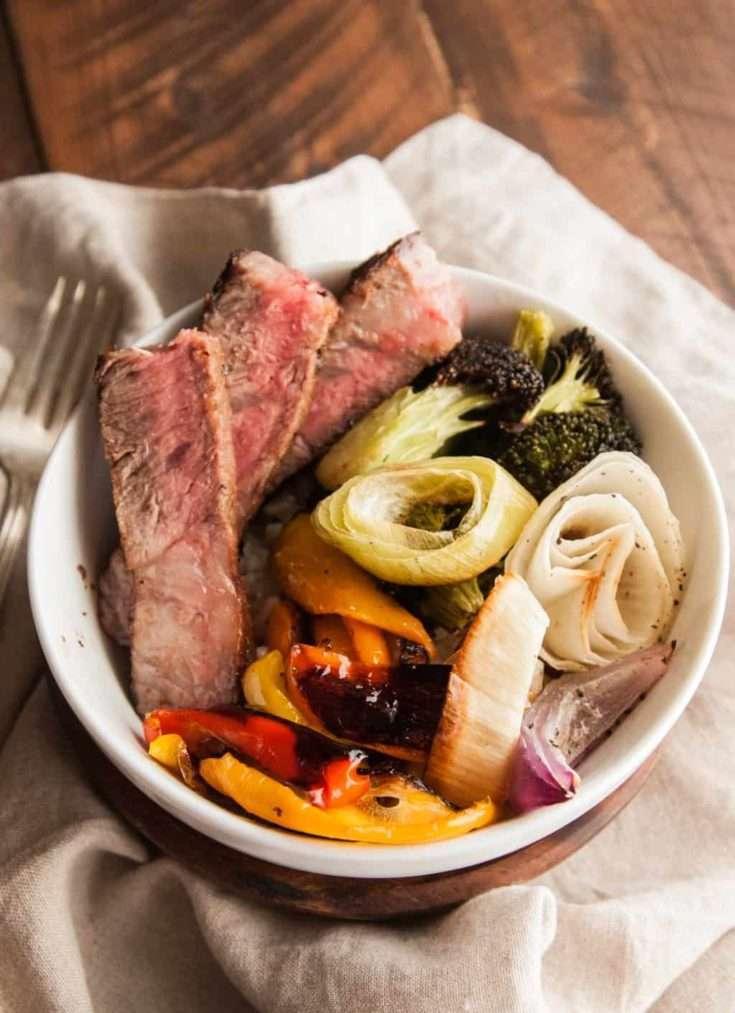 Steak and Roasted Vegetable Bowls