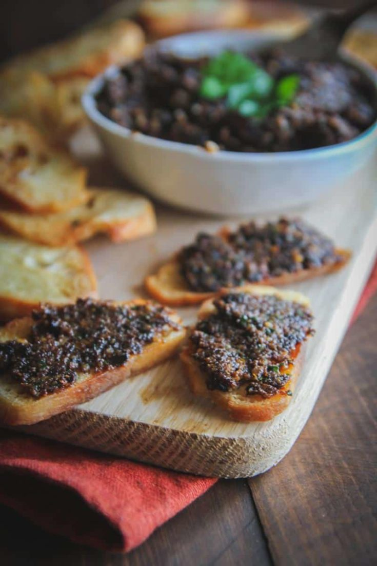 Sun Dried Tomato Walnut Tapenade with Garlic Crostini