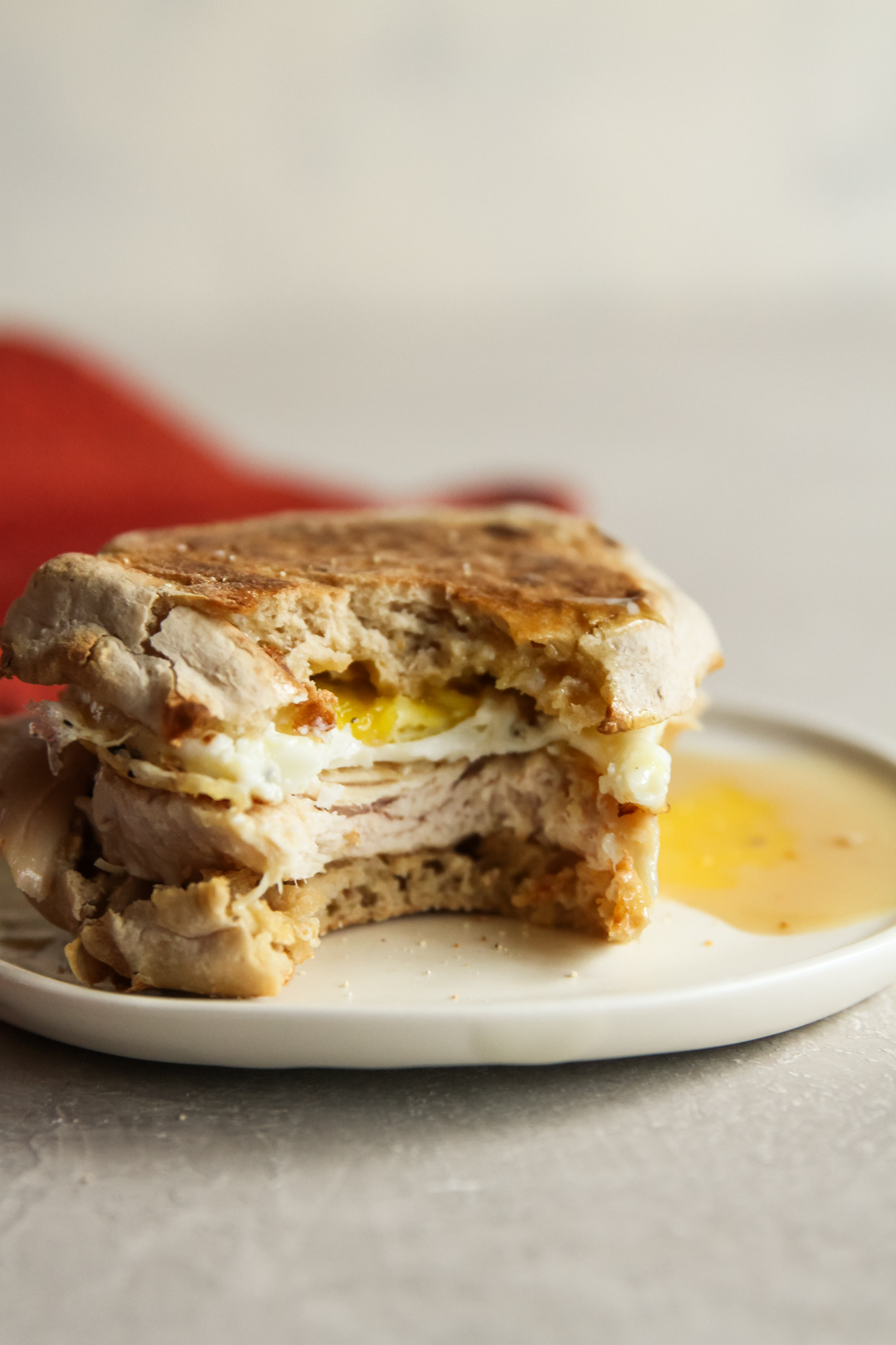 The most delicious Thanksgiving leftover turkey breakfast sandwich with an egg