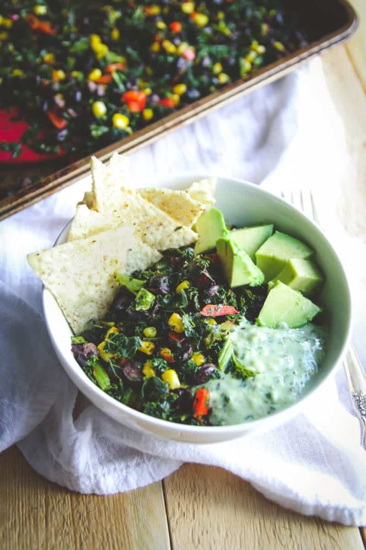 Vegetarian Sheet Pan Dinner (Mexican Kale Salad)