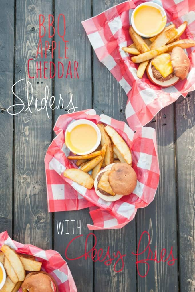 BBQ Apple Cheddar Sliders & Cheese Fries – perfect for budget friendly meals
