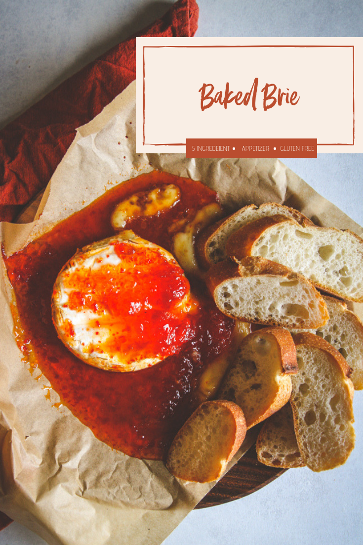 The best easy baked brie appetizer, easy baked brie, baked brie recipe, easy appetizer, 2 ingredient appetizer recipe, holiday party appetizer, the best party food appetizers, baked brie with pepper jelly