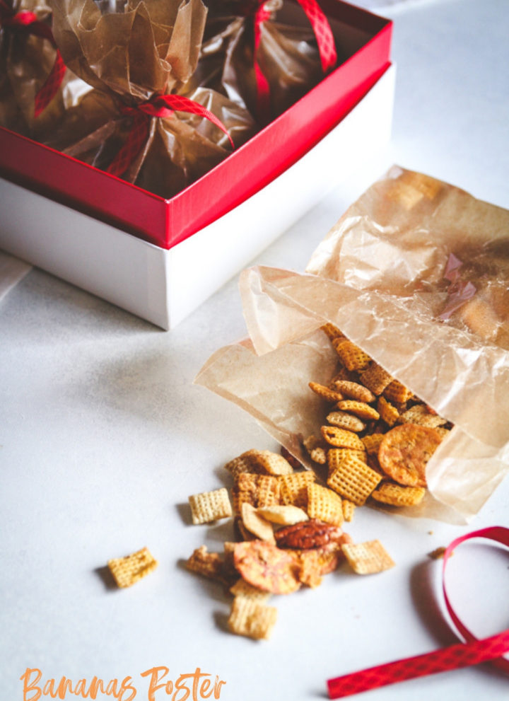 Bananas foster party Chex mix recipe, party mix recipe, party snacks, snacks for parties, football watching snacks, Chex mix recipe, Chex party mix recipe