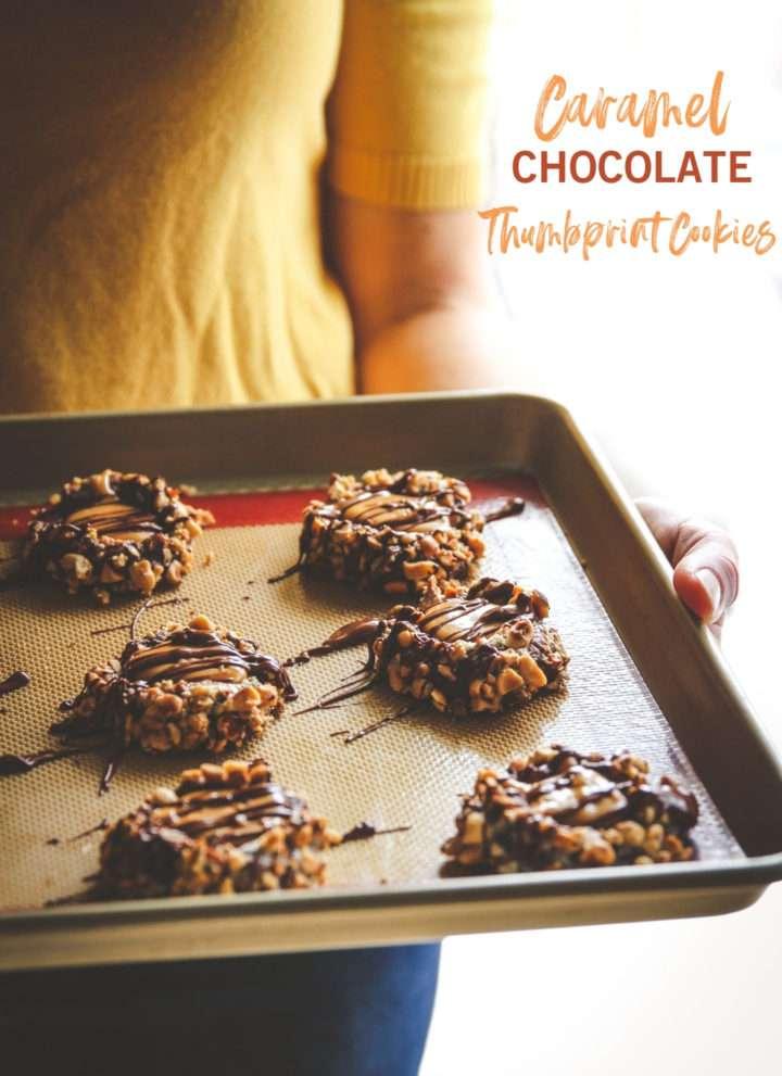Caramel chocolate thumbprint cookies, Christmas cookies, chocolate caramel thumbprint cookies, chocolate thumbprint cookies
