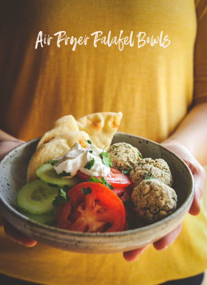 Air fryer falafel dinner bowls, air fryer vegetarian recipe, air fryer dinner recipe, vegetarian air fryer recipe, falafel bowls, healthy dinner recipes