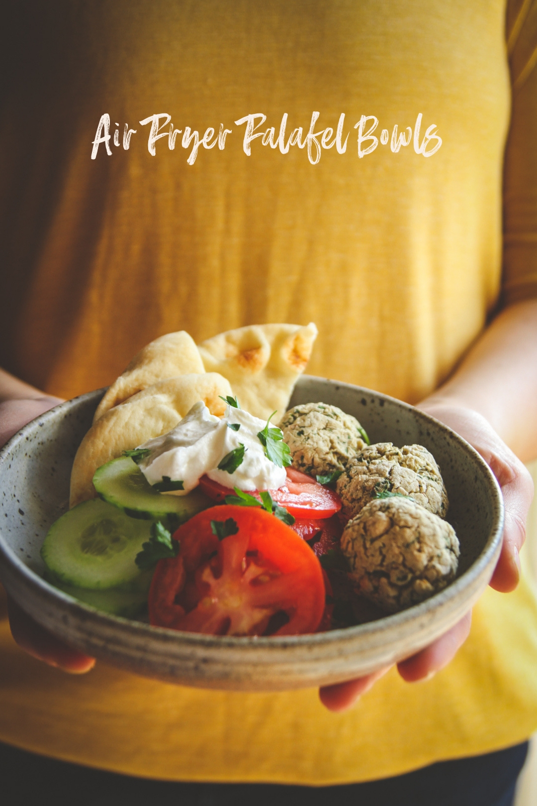 Air fryer falafel dinner bowls, air fryer vegetarian recipe, air fryer dinner recipe, vegetarian air fryer recipe, falafel bowls, healthy dinner recipes