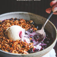 5 ingredient stovetop blueberry crisp dessert, blueberry crisp recipe, easy dessert recipe, 5 ingredient dessert, 5 ingredient blueberry crisp, blueberry dessert recipe
