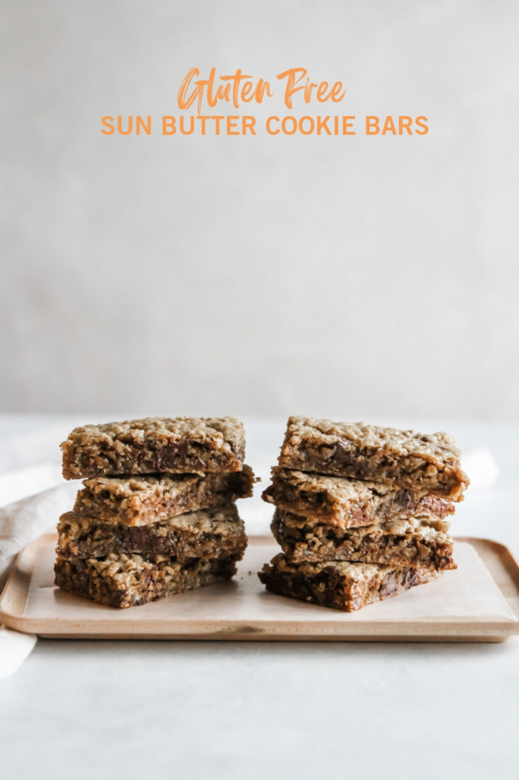 Gluten free sun butter cookie bars, nut free daycare snacks, snacks for daycare, nut free treat for school, healthy delicious treat for schools, sun butter cookie bars recipe