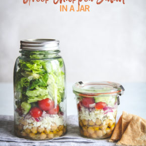 Greek chickpea salad in a jar, chickpea salad in a jar, vegetarian lunch recipe, vegetarian salad, vegetarian protein salad