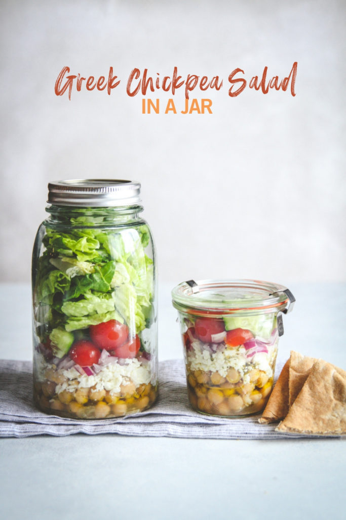 Healthy and super easy greek chickpea salad in a jar