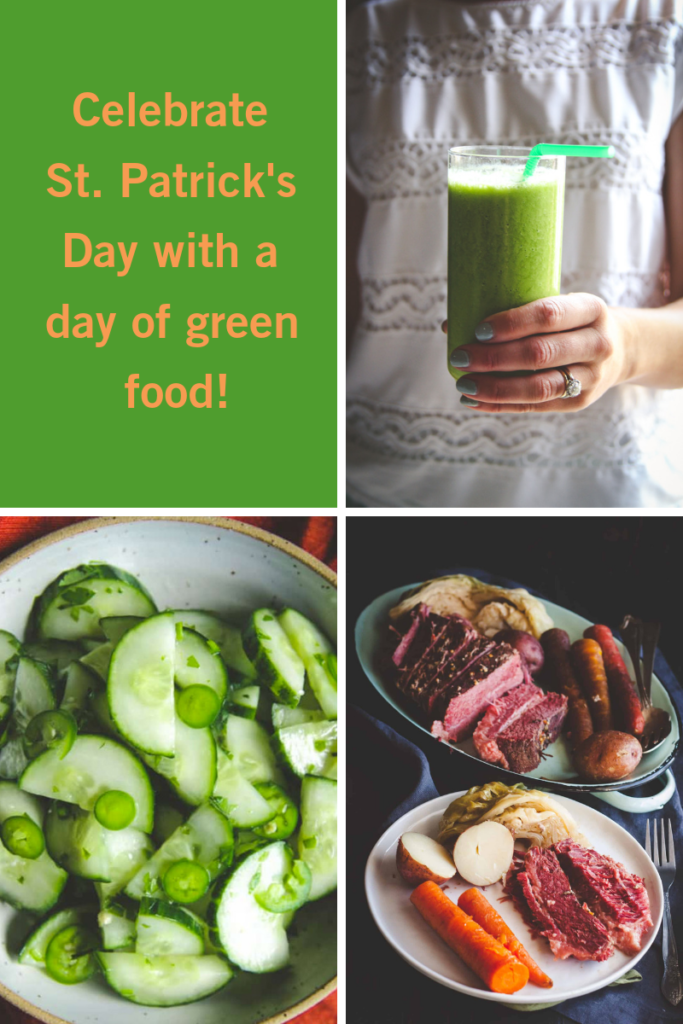St. Patrick's day recipes for breakfast, lunch and dinner all featuring green food