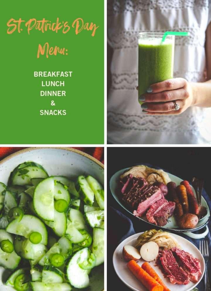 St. Patrick's Day menu, St. Patricks day breakfast lunch dinner snacks ideas, st. patricks day food
