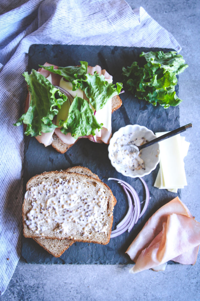 ham and swiss sandwich with maple mustard mayo, ham and swiss sandwich, easy lunch idea, sandwich recipes, ham sandwich, maple mustard mayo spread recipe