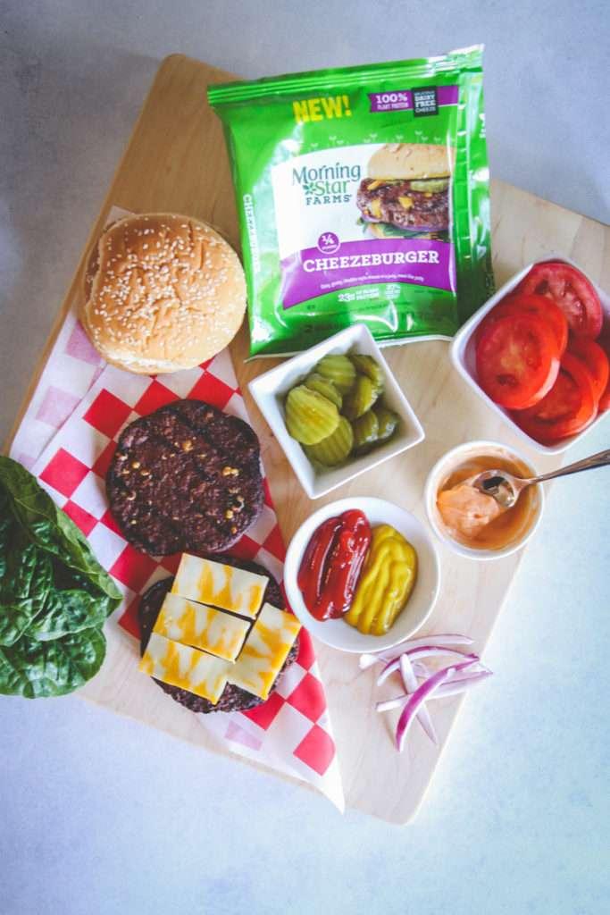 15-minute vegetarian burger recipes, veggie burgers, vegetarian dinner ideas, vegetarian dinners, easy vegetarian dinners, 20 minute vegetarian meals, vegetarian cheeseburger, veggie cheeseburger and toppings