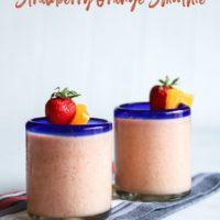 Strawberry orange protein smoothie, smoothie made with greek yogurt, strawberry orange smoothie, smoothie recipe, easy smoothie recipe
