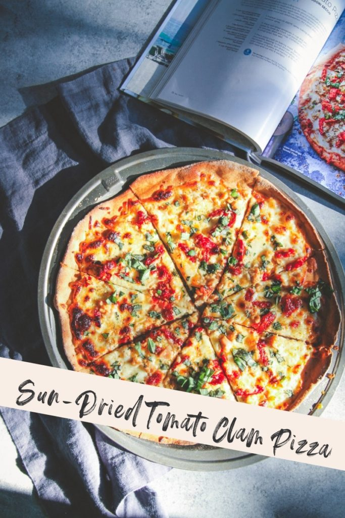 Sun dried tomato clam pizza, weight watchers pizza recipe, clam pizza recipe, unique pizza recipe, clam pizza with sun dried tomatoes,