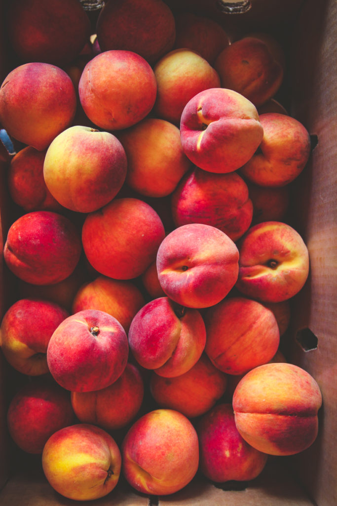 Peaches, crate of peaches