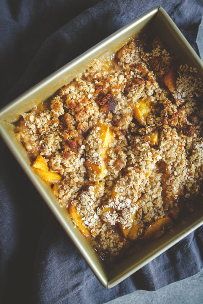 Freezer peach crumble, freezer dessert recipe, freezer to oven dessert, freezer peach pie filling, freezer peach crumble recipe, peach recipe