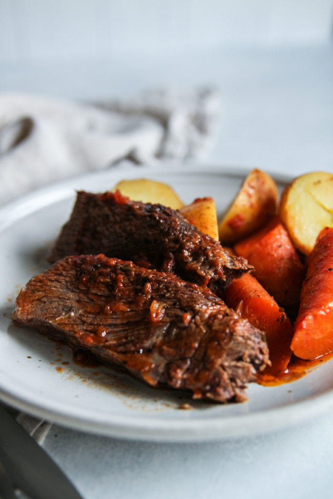 The most amazing slow cooker fire roasted tomato pot roast
