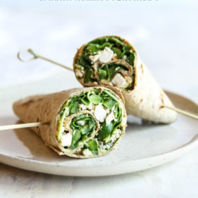 5 ingredient spinach hummus feta wraps, vegetarian lunch wrap, vegetarian lunch idea, healthy lunch recipe