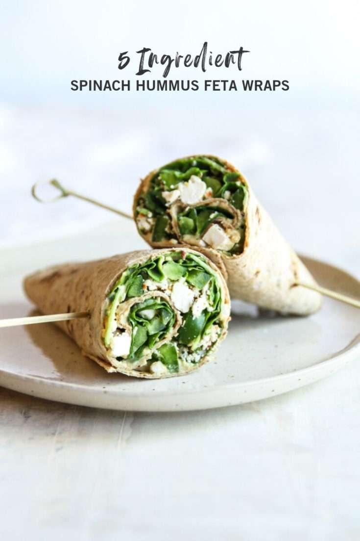 5 ingredient spinach hummus feta wraps, vegetarian lunch wrap, vegetarian lunch idea, healthy lunch recipe