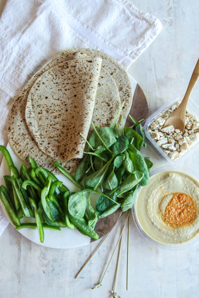 5 ingredient spinach hummus feta wraps, vegetarian lunch wrap, vegetarian lunch idea, healthy lunch recipe, vegetarian lunch, healthy vegetarian lunch recipe