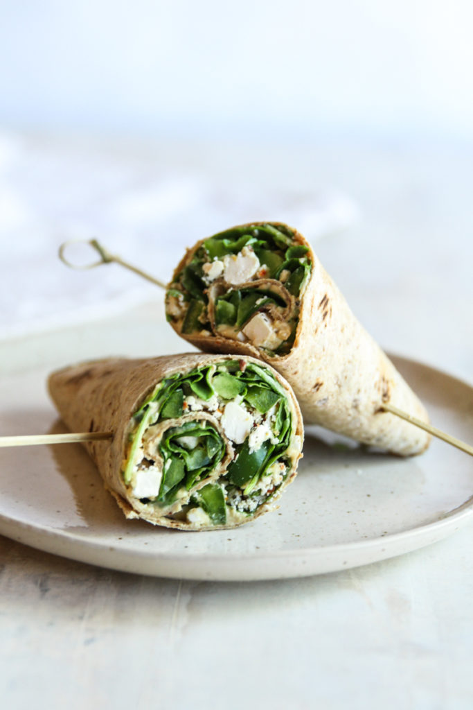 The best tasting spinach hummus feta wraps