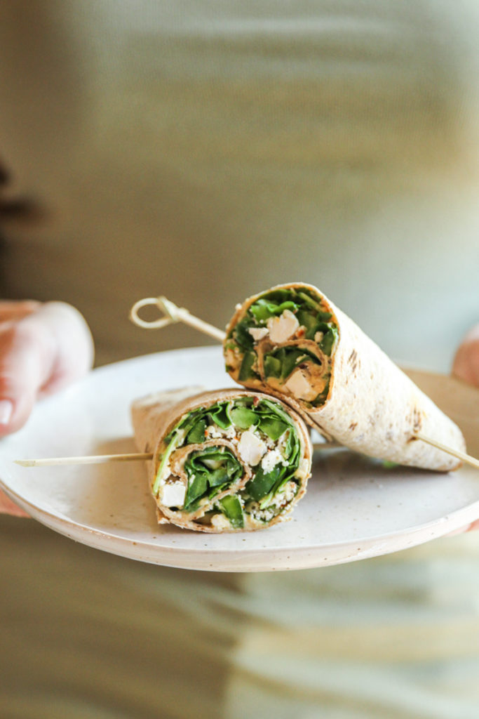 The healthiest spinach hummus feta wraps with only 5 ingredients