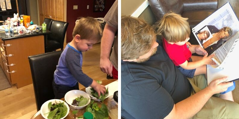 Making dinner with kids and kid picking out hair cut image