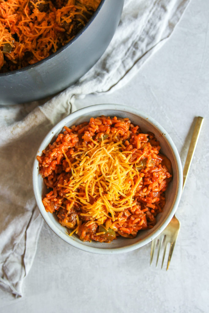 A super tasty and family friendly sausage and rice casserole