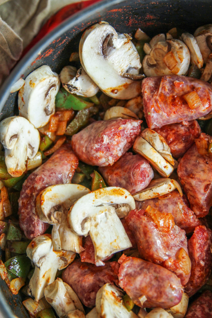 Mushrooms and sausage in one pot sausage and rice casserole