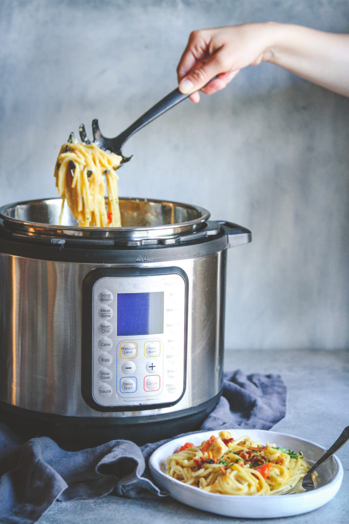 An amazing recipe for pressure cooker chicken spaghetti