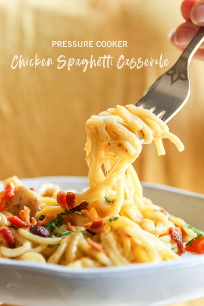 The best ever pressure cooker chicken spaghetti casserole