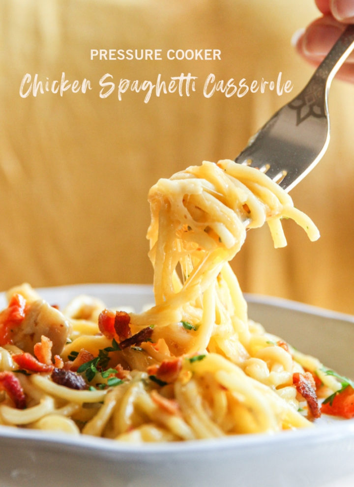Pressure cooker chicken spaghetti casserole, instant pot chicken spaghetti casserole recipe, easy instant pot chicken recipe, instant pot chicken dinner recipe, easy chicken spaghetti casserole, one pot dinner recipe, one pot chicken dinner recipe