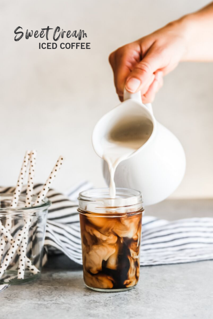 A super amazing sweet cream iced coffee recipe