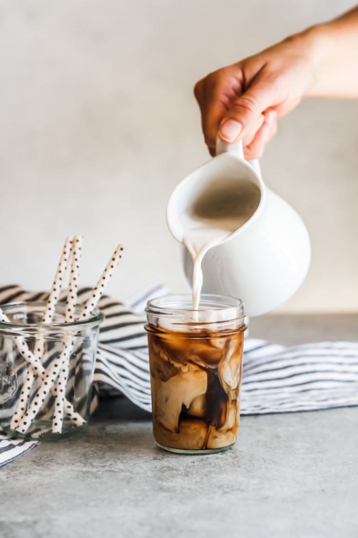 sweet cream iced coffee, iced coffee recipe, sweet cream iced coffee, starbucks vanilla sweet cream copy cat recipe, how to make coffee creamer at home, how to save on coffee