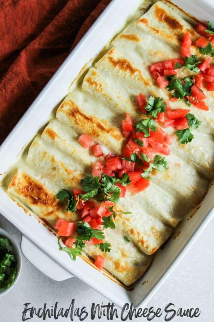 Enchiladas with cheese sauce, cheese sauce enchiladas, how to make enchiladas with cheese sauce, ground turkey enchiladas