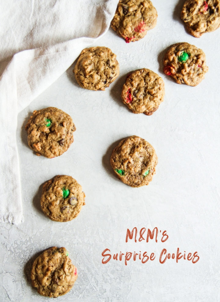 M&M's surprise cookies, cookies with M&Ms, cornflake cookies