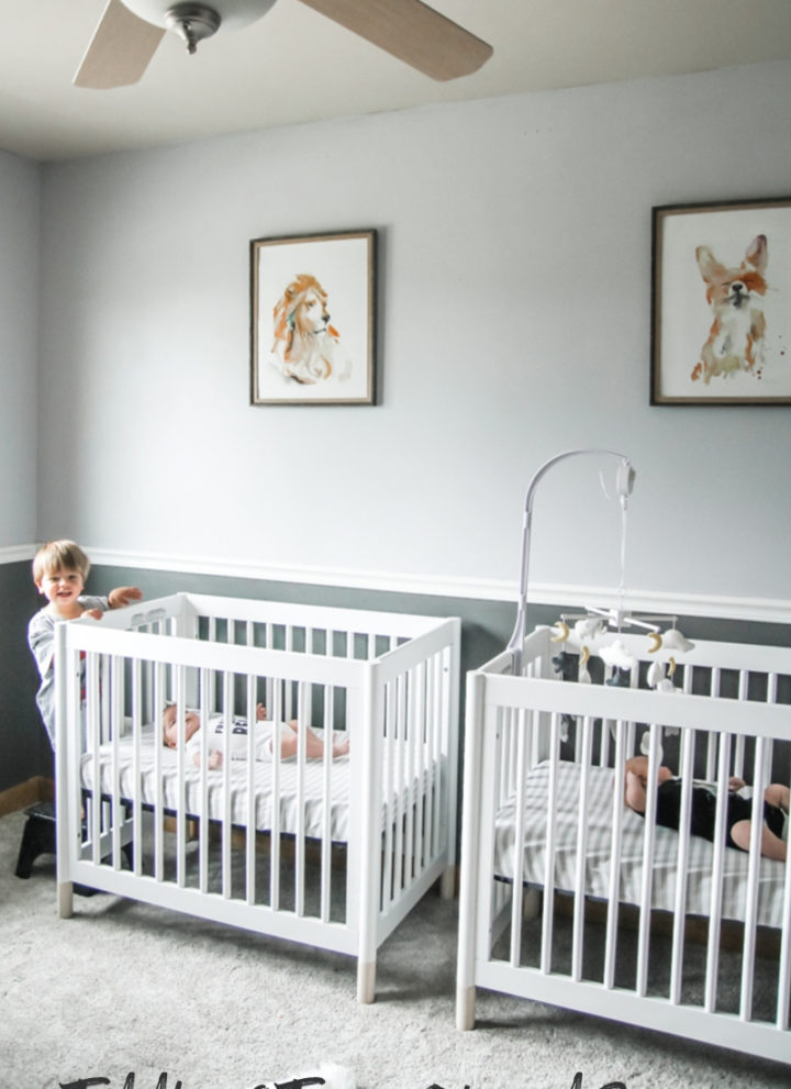 Twins and a toddler shared room, three kids shared room, three kids shared bedroom