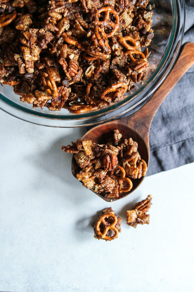 Chocolate turtle chex mix with pretzels