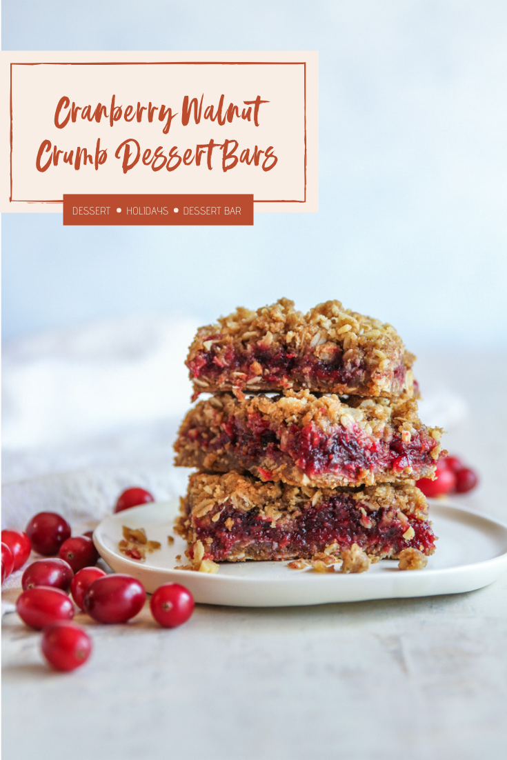 The most delicious and tangy cranberry walnut crumb bars