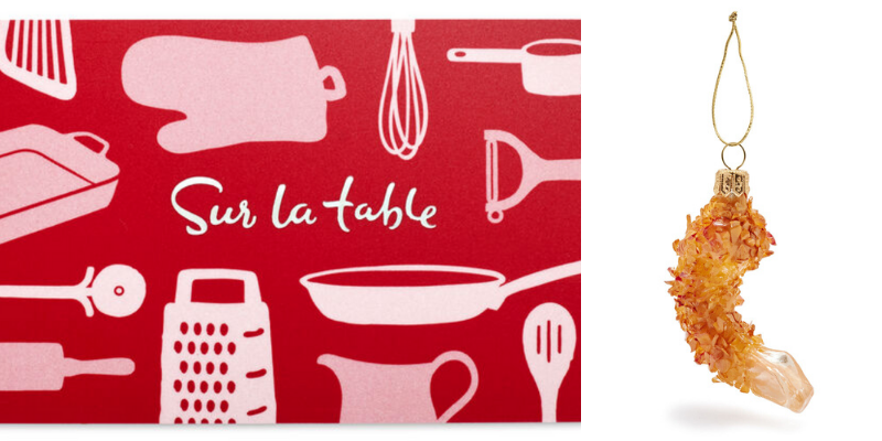 Pairing a cooking class gift card with a food-themed ornament is a great gift