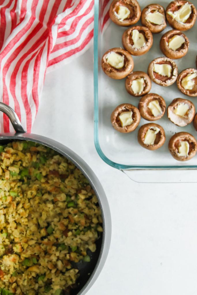 An easy 5 ingredient side dish recipe for stuffed mushrooms with stuffing