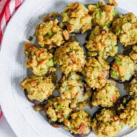 5 ingredient stuffed mushrooms with stuffing, vegetable side dish
