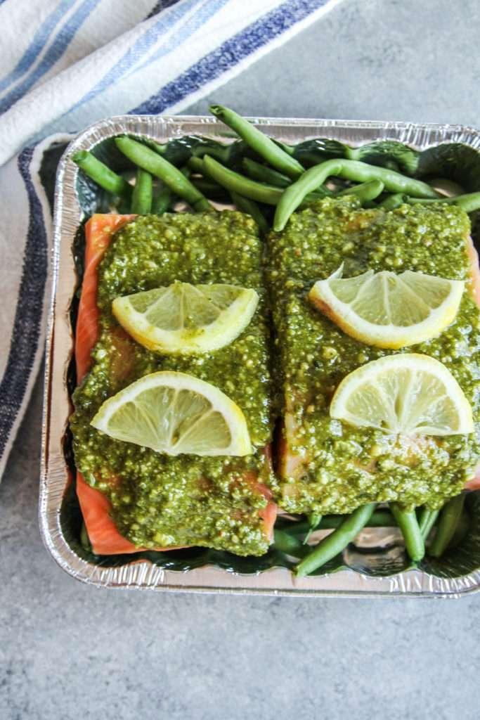 5 ingredient pesto salmon dinner recipe